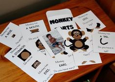 The next is a Monkey Parts pocket, focusing on identifying body parts. I included a photo of Krash in this on also, so he can point to his parts and the monkey's parts using the cards (except the tail, hopefully). Monkey Jump, Five Little Monkeys, Reading Activities, Kids Education, Mini Books, Nursery Rhymes, Book 1, Preschool, Lettering