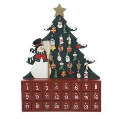 Santa's Little Helper Collection Wooden Snowman with Tree Advent Calendar