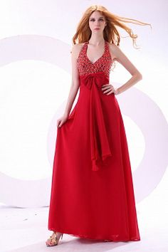 Red A-line Halter Floor-length Chiffon Prom Dress With Beads And Rhinestones - Prom Dress 2013, Cheap Homecoming Dresses, Cheap Evening Dresses, Bridesmaid Dresses, Formal Dresses, Wedding Dresses, Red Chiffon, Mothers Dresses, Silhouette