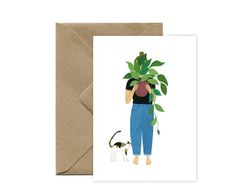 Map Cat - green plant Map mm) Natural white paper White interior This pretty card is sold with a recycled envelope, in kraft, format. Created and manufactured in France, La Rochelle Cat Plants, Green Plants, Pretty Cards, Kraft Envelopes, Recycling, Etsy, Paper, Nature, Handmade
