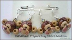 NEW Polymer Clay Monkey Face Stitch Markers by michellesclaybeads, $12.00