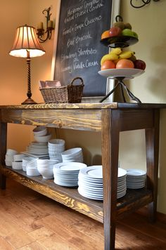 how to repurpose an unused desk into a buffet table!