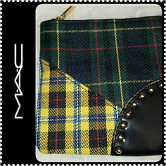 Mac Cosmetics Bag Mac Pouch Bag, Plaid Design with Gold Tone  Studs Details, Zipper Closure, Interior Lined, Approx Size 5 in x5 in,  Mint Condition MAC Cosmetics Bags