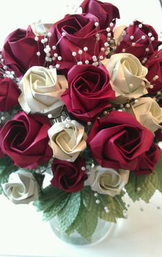 Origami Paper Rose Wedding Flower Bouquet by FancyWhatNots on Etsy, $75.00