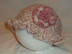 Girls Handmade Crochet Cloche 1920's Flapper Inspired Hat - Shades of ROSE & CREAM - Ruffle Brim, Rose Flower, Winter Beanie, Christmas Gift by MyLifeIsAHighway on Etsy