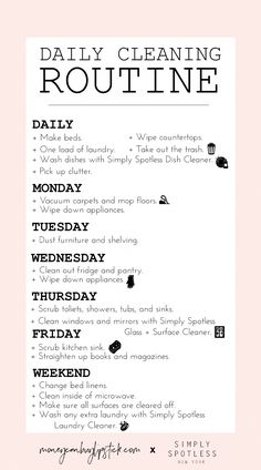 How to create a daily cleaning routine spring cleaning tips and hacks Deep Cleaning Tips, Cleaning Solutions, Cleaning Hacks, Diy Hacks, Cleaning Routines, Cleaning Vinegar, Clutter Solutions, Speed Cleaning, Cleaning Products