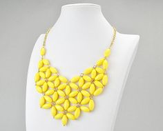 Yellow  Bib NecklaceChunky Necklace Statement by GemPearls on Etsy, $10.00