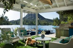 Dock/ Landing/ Porch/ Patio - rustic - deck - los angeles - by Shannon Ggem ASID Interior Exterior, Home Interior, Interior Design, Design Interiors, Outdoor Rooms, Outdoor Living, Lakeside Living, Outdoor Patios, Outdoor Kitchens