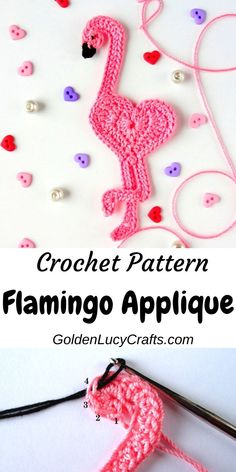 Learn how to make crochet flamingo applique! This cute heart-shaped flamingo perfect for any embellishment, scrapbooking or cardmaking. Crochet Sheep, Crochet Patterns Amigurumi, Knit Or Crochet, Cute Crochet, Crochet Motif, Crochet Designs, Crochet Crafts, Yarn Crafts, Single Crochet