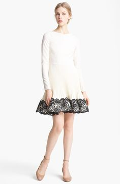 Valentino Lace Hem Wool Dress | Nordstrom