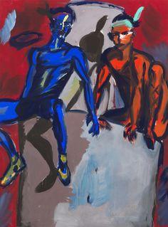 Rainer Fetting (German, b. 1949), 2 Indians (Fetting und Castelli), 1982. Dispersion on canvas, 280 x 210 cm.viapurys