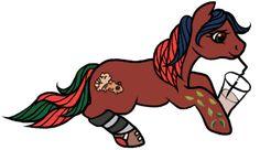My pony persona Jellybeans drinking an Earl Gray slush, by Lina from the MLPArena.