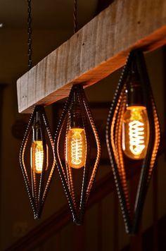 Industrial Barn Wood and Rebar light fixture by RebarnDesigns