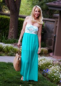 San Francisco Bay Style: Aqua Lace Maxi Dress