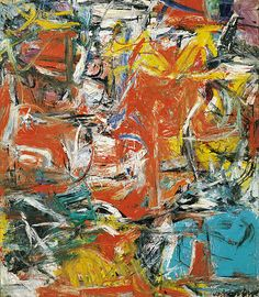 Composition by Willem de Kooning by Guggenheim Museum Size: cm Medium: Oil, enamel, and charcoal on canvasSolomon R. Guggenheim Museum, New York © 2016 The Willem de Kooning Foundation/Artists Rights Society (ARS), New York Willem De Kooning, Jackson Pollock, Franz Kline, Action Painting, Drip Painting, De Kooning Paintings, Oil Paintings, Art Fauvisme, Tachisme