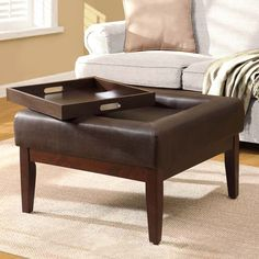 Preston Square Pullout Tray Cocktail Ottoman