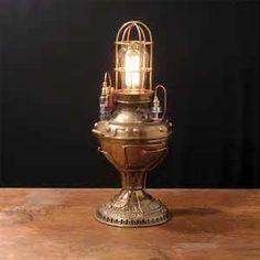 steampunk lamp made from an old oil lantern