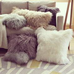 Mongolian lamb pillow cover // west elm Everyone needs a furry pillow! Cute Pillows, Fluffy Pillows, Throw Pillows, Fall Pillows, Accent Pillows, Fur Throw, Sofa Throw, Cozy Blankets, Linen Pillows