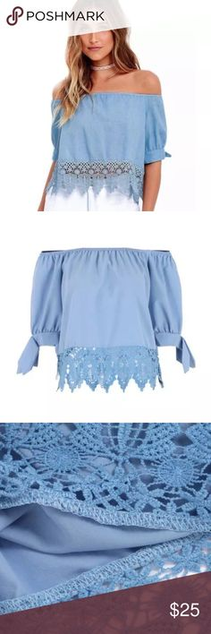 🆕List! Blue Off Shoulder Blouse! NEW! Adorable details such as cuffed, tied sleeves and lace hem make this a hit!! Size medium only. New without tags boutique item. Boutique Tops Blouses