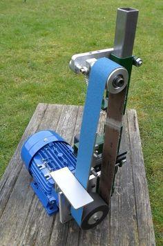 Bench Grinder Belt Sander Belt Grinder: 9 Steps With Pictures . Metal Working Tools, Metal Tools, Wood Tools, Diy Tools, Knife Grinder, Bench Grinder, Diy Belt Sander, Belt Grinder Plans, Knife Making Tools