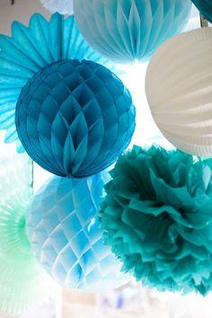 38 pcs mix size Tissue paper pom pom  hanging ball by NoraLoveNora