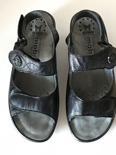 MEPHISTO MOBILS Womens Black Leather Comfort Sandals Shoes Size 41 France EUC #Mephisto #Comfort