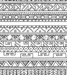 bordes mexicanos: patrón de colores sin fisuras étnico del doodle geométrica en estilo de esquema. diseño tribal azteca
