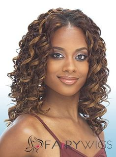Cheap Colored Medium Curly Brown No Bang African American Lace Wigs For Women 16 Inch