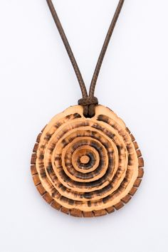 """Alder wood pendant """"Wood circles"""" hand carved gift for her natural pendant eco pendant yellow pendant spiral pendant handmade jewelr - $44.00 USD"""
