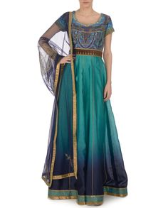Ombre Turquoise and Midnight Blue Kalidar Set