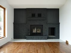 Behr Evening Hush for kitchen cabinets painted dark gray fireplace, Dans le Lakehouse on Remodelaholic