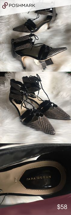 "ZARA Snakeskin Heels Adorable and chic lace-up kitten heels by ZARA Woman. NWT Heel Height: approx 2 1/2"" Size 39 (US 8) Zara Shoes Heels"
