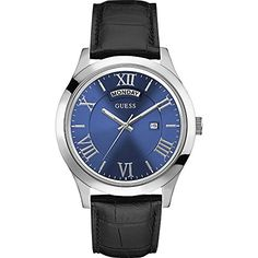 awesome Guess Men's Quartz Watch with Blue Dial Analogue Display and Black Leather Bracelet Cool Watches, Watches For Men, Guess Watches, Latest Watches, Men's Watches, Black Leather Bracelet, Leather Bracelets, Bracelet Cuir, Omega Watch