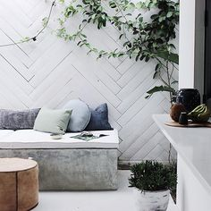 Outdoor inspo from - how beautiful is that herringbone wall 🖤 Cozy Backyard, Backyard Seating, Outdoor Seating, Outdoor Rooms, Outdoor Gardens, Outdoor Living, Outdoor Decor, Courtyard Gardens, Outdoor Ideas