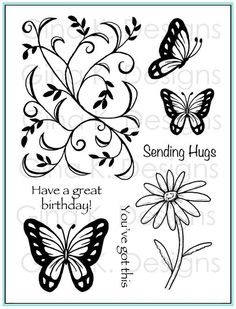 """Vine & Butterfly"" stamp set from Theresa Momber for Gina K Designs featured in the September StampTV Release Party."
