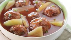 Several flavors come together in this satisfying meaty casserole. Serve with steamed white rice. Filipino Dishes, Filipino Recipes, Del Monte Recipes, Spanish Meatballs, Sausage Casserole, Cooking Recipes, Easy Recipes, Food Dishes