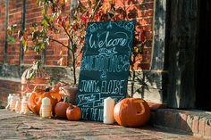 Blackboard Sign Welcome Pumpkins Rustic Autumn Halloween Wedding http://www.samrileyphotography.co.uk/