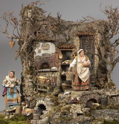 Neapolitan Baroque Crèche/Presepe Scene, l Carmine Bruno Abate Tall Christmas Trees, Christmas In Italy, Christmas Nativity Scene, Christmas Villages, Nativity Creche, Christian Images, Angel Ornaments, Paper Models, Spring Day