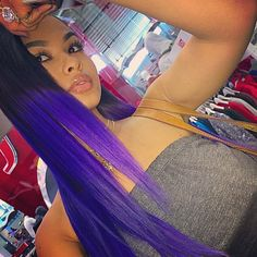India Westbrooks Purple Dip Dye Ombre Hair Hairstyle Dope Pretty Girl Swag