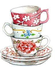 Stacked teacups and saucers, by artist Susan Branch