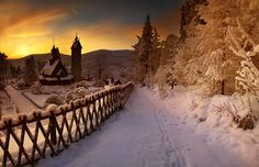 This amazing piece of arhitecture is a Vang stave church (Polish: Świątynia Wang), which is a stave church which was bought by the famous Prussian King and transferred from Vang located in Norway a. Polish Mountains, Poland Travel, Mountain Photos, Winter Beauty, Central Europe, Cool Landscapes, Mountain Range, Kaito, Winter Wonderland