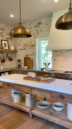 Joanna Gaines Shows Us Inside The Set Of Her New Cooking Show - cottage kitchens Prep Kitchen, Kitchen Redo, Kitchen Styling, Kitchen Dining, Kitchen Remodel, Stone Kitchen Island, Kitchen Small, Kitchen Signs, Kitchen Ideas
