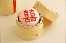 """Chinese -French fusion wedding favor: small Bamboo container (traditionally use for steaming dim sum) with macaron inside. the Chinese character depicts """"Double Happiness"""""""