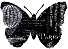 Fabulous French Butterfly Typography Printable Transfers! - The Graphics Fairy