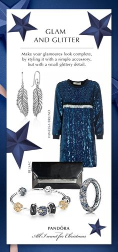 Glitter and glam for your holiday parties. We love midnight blue this season with a stunning pair of earrings. #PANDORA #PANDORAgiftidea | www.goldcasters.comv