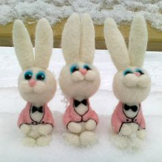 Easter  needle felted rabbit  brooch felted animal by vilnone