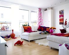 Interior Minimalist - Simple and Colorful Living Room Design Ideas. Neutral walls with red & orange accents???
