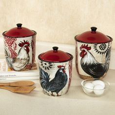 canisters for kitchen canister set sets rooster products and