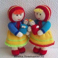 """Человечки ручной работы. Ярмарка Мастеров - ручная работа. Купить """"Маленькие мамы"""" вязаные куклы. Handmade. Вязаная кукла, мама"""