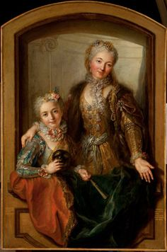 Lady and her daughter,1720-30 by Coypel